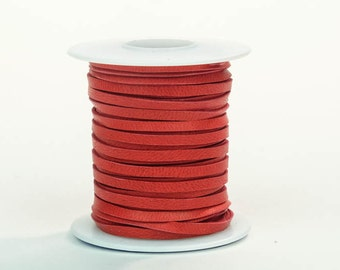 Red Deerskin Lacing - (1) 50 foot spool, 1/8th inch lace (297-18x50RD)