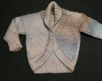 VINTAGE KIDS:  sweet little handmade shrug sweater with yarn covered button!