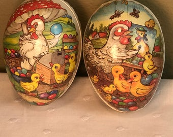 2 Vintage German Paper Mache Easter Egg Candy Containers, Vintage Easter Decor, Retro Easter Basket stuffers