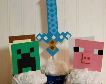 6 - Minecraft cupcake toppers - creeper, steve, pig and chicken