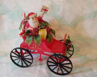 Vintage Kitsch Santa on Sleigh Vintage christmas