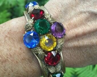 Vintage Brass Filigree bracelet multi colored rhinestones Coro