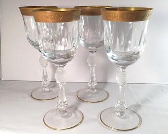 Set of 4 Vintage Gold Rimmed Wine Glasses