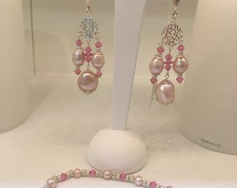 Silver 925 pearls Baroque and crystal earrings Swarovski roses
