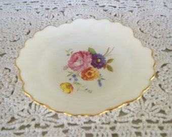 Royal Adderley floral bone china scalloped fluted edge small round dish