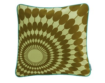 Pillowcase SUNNYDAY, lime / olive, 50 x 50 cm (without filling)