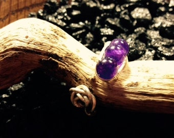 Amethyst with Silver Wire Wrapped Ring