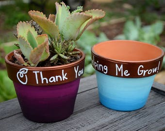 Flower Pot, Teacher Gift, Thank You For Helping Me Grow Flower Pot, Teacher Appreciation, Teacher Thank You, Blue, Purple