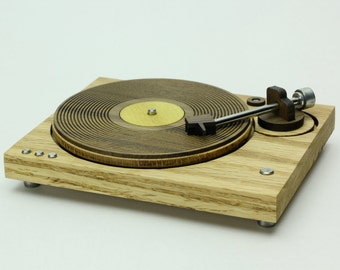 Wood Turntable - Miniature Art Object - Vinyl Record Player - 1980's Old School Style