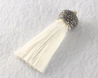 Tassels DIY Craft Supplies Rice white Jewelry tassels Chunky tassel Short Boho tassels Small tassels Fringe Trim Womens Gift