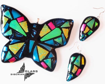 Fused glass jewelry set Butterfly
