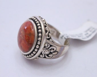 Filigree Design Enhanced Red Coral 925 Sterling Silver Ring Size 6