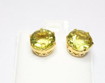 10k Yellow Gold 10.00ctw Lemon Quartz Earrings