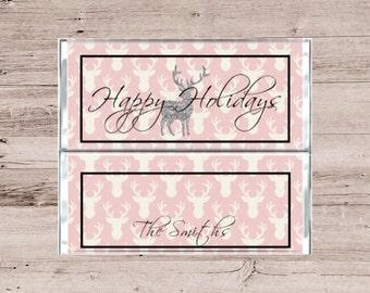 Pink Glitter Deer-Pink Glitter Stag-Chocolate Bar Wrapper-Candy Bar Wrapper-Glitter Chocolate Wrapper-Pink Candy Wrapper-Pink Chocolate
