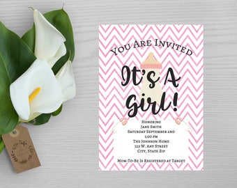Pink Chevron Print It's A Girl Baby Shower Invitation-Pink and White Shower Invitation-Baby Girl Baby Shower Invitation-Shower Invitation