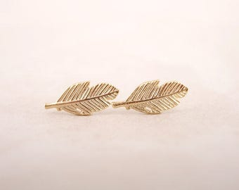 Feather Stud Earrings - Small Statement Earrings, Perfect for Coachella, Yoga, Gifts, and Boho Chic Look