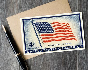 Fourth of July cards, US Independence Day cards, Old Glory, American flag birthday cards, stars and stripes cards, US flag Christmas cards