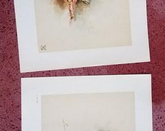 Pair of vintage cherub prints, d'apres Boucher