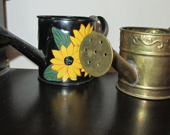 """2 mini water cans-1 brass,made in India--1 black with sunflowers -approx.2-1/2"""" high"""