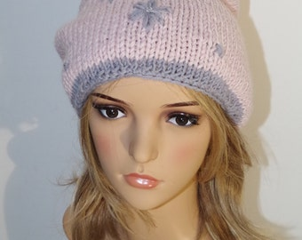 Pink-merino cap with blossoms and gemstones