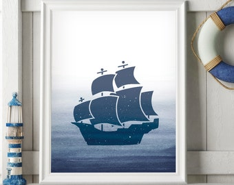 Kids Room Decor, Sailboat Art, Boy Nursery Ideas, Navy Blue Wall Print, Sailboat Wall Print, Nautical Boat Print, Ocean Coastal Art Decor
