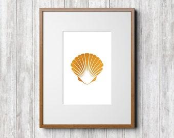 Gold White Wall Art, Master Bath Decor, Seashell Printable, Gold Foil Art Print, Gold Poster Art, Gold Seashell Print Art, Gold Foil Print