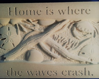 Home is where the waves crash 3d beach sign.