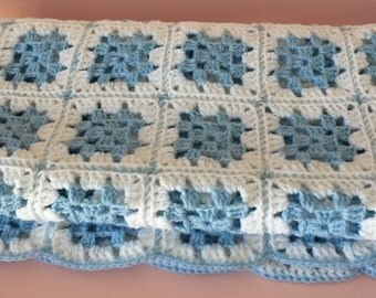 SALE***Crochet Granny Square Baby Blanket - Newborn Blanket - Baby Blue Blanket- - Baby GIft