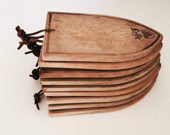 Vintage Cutting Boards, Wood Serving Board, 10 Tasting Boards Set of the famous Belgian house Leffe,  Cheese Boards Leffe Collection,