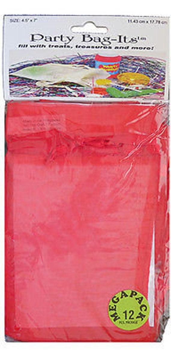 "Sheer Organza Bag-its, 72 pcs 4 1/2"" x 7"", Red   **FREE U.S. SHIPPING**"