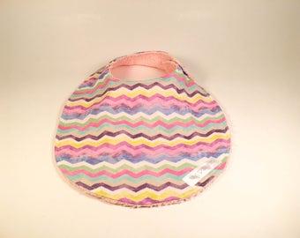 Bib - Rainbow Stripes (pink terrycloth)
