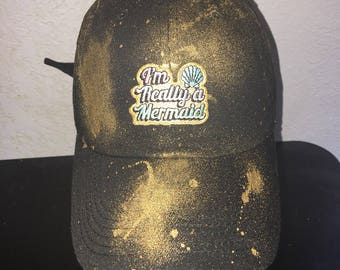 Black with gold paint splatter im really a mermaid dad hat