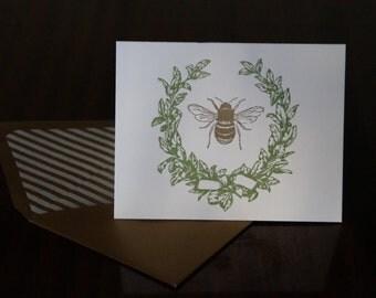Letterpress Bee & Laurel Card