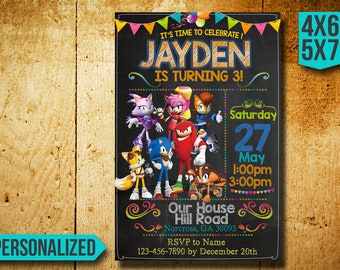 Sonic The Hedgehog Invitation / Sonic The Hedgehog Birthday Invitation / Sonic Invitation / Sonic Birthday / Sonic Invite / Sonic Party SS