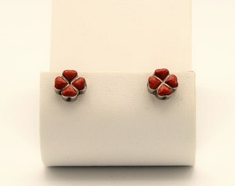 Silver and  Red Coral Inlay Earrings