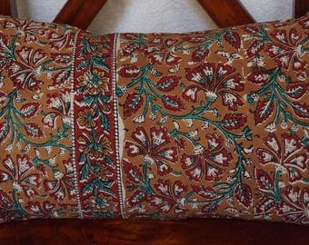 Ochre Golconda 1 series: cover 30x50cm (12 x 20 inches) cushion, cotton, kalamkari, floral, ochre, red and green patterns.