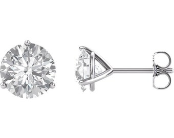 Forever One Moissanite Martini Stud Earrings in 1ct 2ct or 3ct 14KT White Gold or 14 KT Yellow Gold