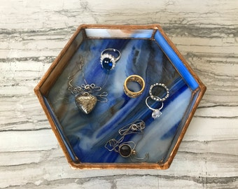 Ring Dish, Ring Tray, Blue Jewelry Dish, Vanity Tray, Marbled Glass, Jewelry Tray, Jewelry Dish, Hexagon, Hexagon Jewelry Dish