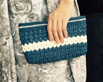 Crochet clutch, Crochet straw clutch, Handmade clutch