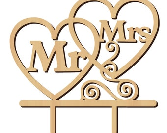 """1 """"Mr. & Mrs."""" Rustic Wood Cake Topper, Cake Topper, Anniversary, Wedding, Wedding Supplies, Party Supplies, Rustic Decorations, Rustic"""