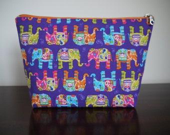 Large Purple Elephant Paisley Print Wash Bag Make Up Bag Novelty Toiletry Bag Zipper Pouch Orange Green Blue Indian