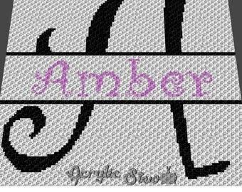 Custom Graphgan Pattern - Corner to Corner - C2C Crochet - Basket Weave - Amber Letter Name Blanket Afghan Crochet Pattern Graph Chart