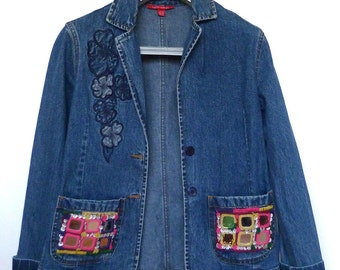 Laura Ashley Denim Jacket embroidered with Indian tribal embroidery size 10 UK