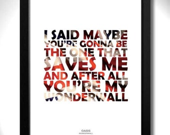 OASIS - Wonderwall Limited Edition Unframed A4 Art Print with Gallagher lyrics