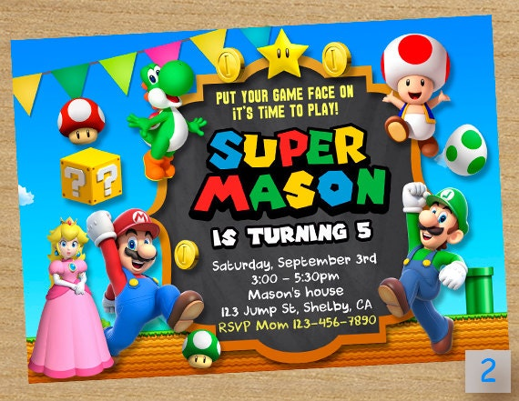 Mario Birthday Party Invitations is adorable invitation layout