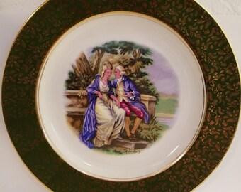 Wood & Sons Burslem England Alpine White English Ironstone Gentleman and Lady Dinner Plate