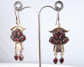 Silver earrings and Garnet stones