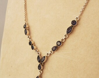 Chain necklace in silver 925 link jaseron and stones iolite
