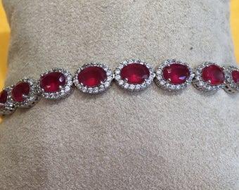Silver zirconia and rubellite bracelet