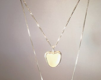 Genuine Heart Shaped Frosty White Sea Glass Sterling Silver Necklace